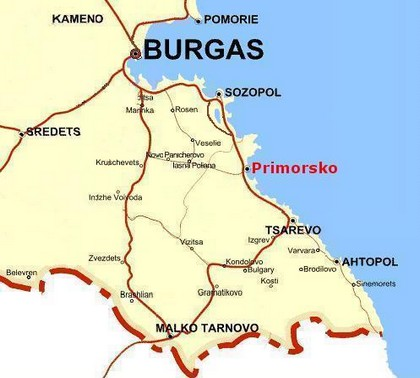 Map Burgas - Primorsko